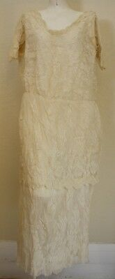 Vintage Antique Lace Silk Lace and Lined Dress 1910/1920 - Rare Collectible