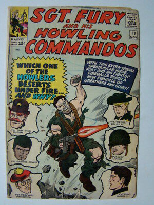 Sgt Fury and his Howling Commandos #12 Dick Ayers Art Marvel Comics 1964 GD