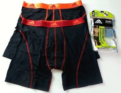 Adidas Climalite Men's Boxer Briefs 2 Pack M L XL Black Red Athletic Stretch New