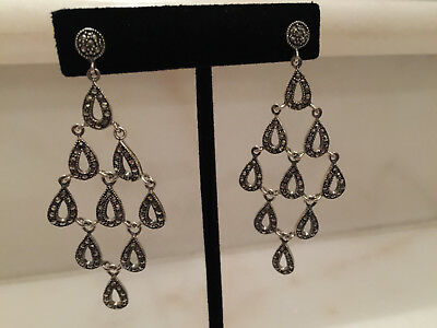 Qvc Suion Sterling Marcasite Raindrop Chandelier Earrings