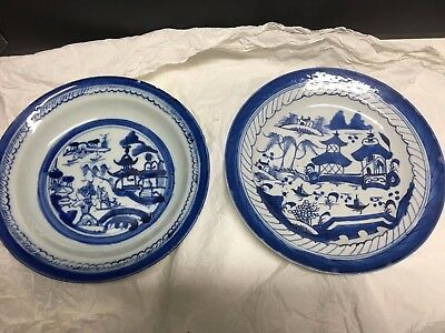 Two 18th Century Antique Chinese Export Ware Blue Canton Plate