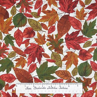 Red Rooster YARD Fall Autumn Fabric Bountiful Harvest Leaf Toss Cream