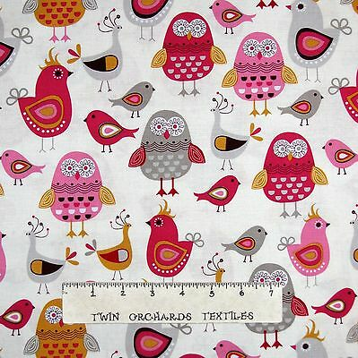 Kitchen Fabric - Tossed Pink & Gray Bird Owls on Cream - Timeless Treasures YARD
