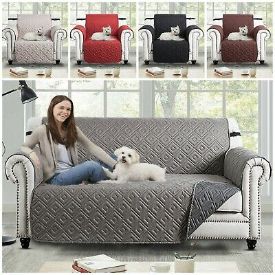 Quilted Sofa Protector Throw 1/2/3 Seater Dog Cat Pet Water Proof Slip Cover