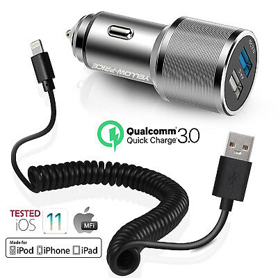 [Genuine Quality] Fast Car Charger iOS 11 Lightning Charger Cable Fr iPhone iPad