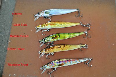 5 x 6.5 cm TROUT MINNOW FISHING LURE freshwater Muzza's lures