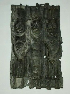 Very Old Tribal Benin Bronze Plaque. King And Palace Guards.