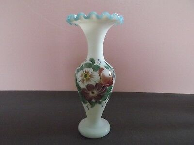 Victorian Milk Glass Vase with Hand Painted Flowers & Frilled Rim  (74.39)