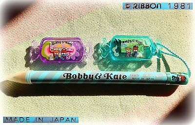 ✎ VINTAGE RIBBON Bobby & Kate Jumbo Pencil Stationery Trinket 1981 +Candy Eraser