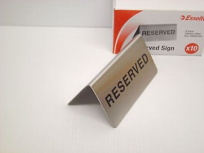 ESSELTE Reserved Table Sign Box of 10 Stainless Steel Restaurant - #A4