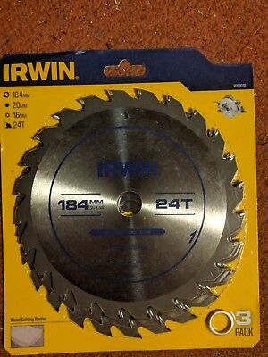 "3x IRWIN framing / ripping saw blade 184mm (7 1/4"") 24T Bore 20mm+ 16mm 9098004"