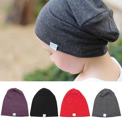 New Fashion Cute Solid Knitted Beanie Cotton Hats For Children Autumn Pop