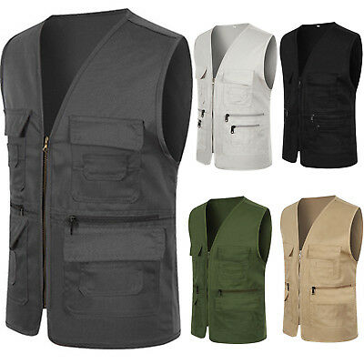 Mens Pocket Photography Director Vest Waistcoat Travelers Fishing Outdoor Jacket