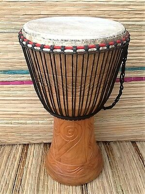 """Genuine African 13"""" Djembe drum with 3 free percussion instruments"""