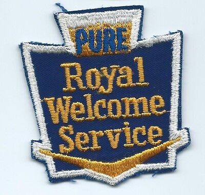 Pure Oil & Gasoline Royal Welcome Service Advertising Patch 3-1/4 X 2-7/8 #1758