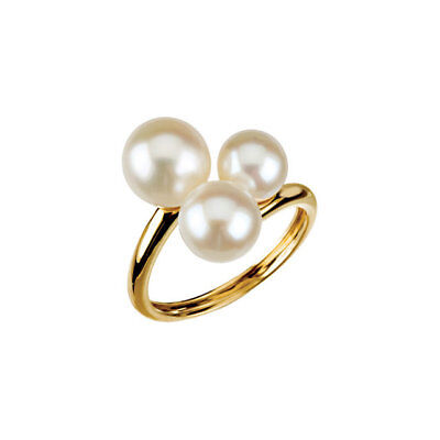 Cultured Freshwater White Pearls 6.5 to 9.0 mm Solid 14K. Yellow Gold Band Ring