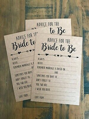 x10 advice for the bride to be cards hen party bridal shower game