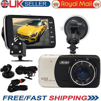 "4"" Dual Lens Camera HD 170° 1080P Car DVR Video Dash Cam Recorder G-Sensor ^h"