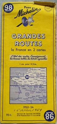 Michelin Automobile Highway Road Map No.98 Northern France 1953 Vintage Travel