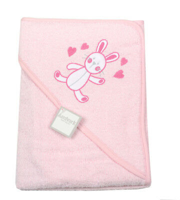 **NEW** Beautiful Hearts / Bunny Infant / Baby Hooded Towel - Bath Robe (Pink)