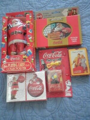 8 Coca-Cola Coke Playing Card Lot: Santa Claus w/ matching Tins LTD. Editions...