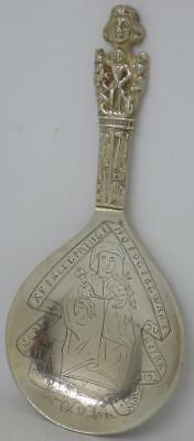 RARE! Antique Sterling Silver Danish Babtism Spoon 16thC Royal Coronations d1914