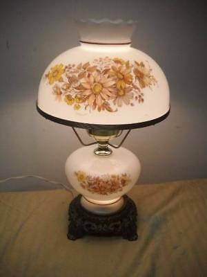 """Vintage 3 Way """"Gone With The Wind"""" Parlor Table Lamp Brown Yellow Daisies 17"""""""