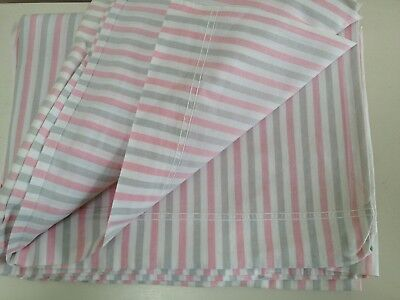 """Pair pink and grey candy stripe 1950s cotton sheets 80"""" wide small double"""