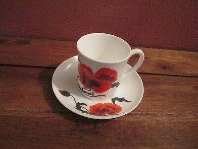Wedgewood Susie Cooper Corn Poppy Cup and Saucer Made in England Bone China