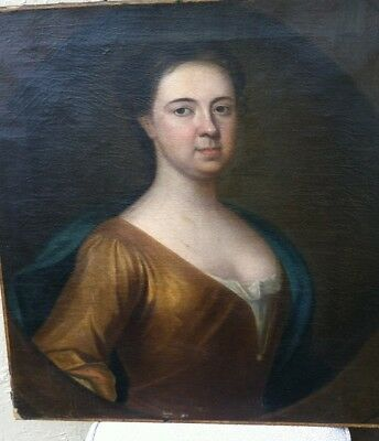 19th-Century-Unframed-Portrait-Painting-Oil-on-Canvas-of-a-Lady