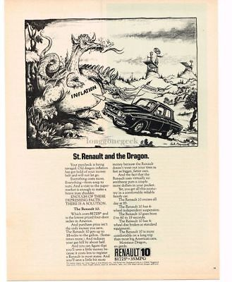 1970 RENAULT 10 St. Renault & The Dragon art by RICK MEYEROWITZ VTG PRINT AD