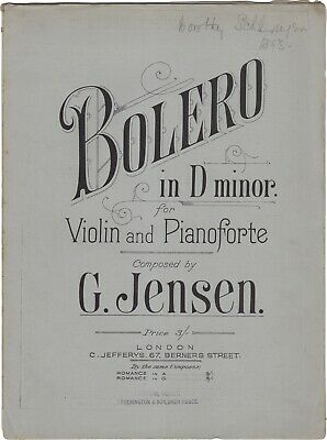 JENSEN GUSTAV Spartito Musica BOLERO IN D MINOR Violino Piano Jefferys 1889