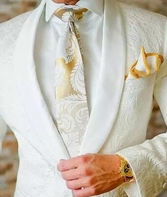 Men's White Jacquard Paisley Tuxedos Groom Wedding Suit British Style Custom