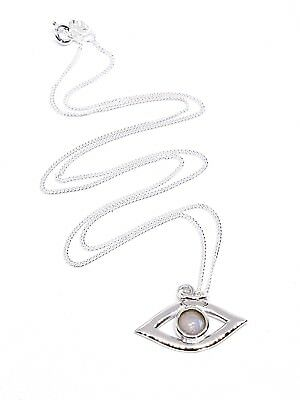 Silver Evil Eye Moonstone Pendant on 925 Silver Necklace Chain Stunning Stone