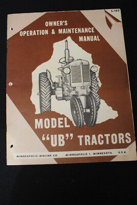 Vintage Model UB Tractors Owner's Operation & Maintenance Manual Catalog S-163