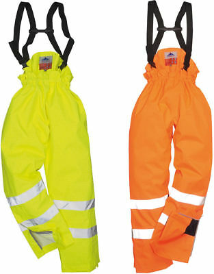 Portwest Bizflame Rain Lined Hi Vis Antistatic FR Trouser Waterproof S781