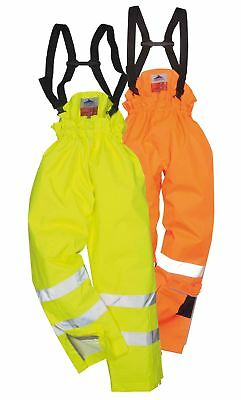 Portwest Bizflame Rain Unlined Hi Vis Antistatic FR Trouser Waterproof S780