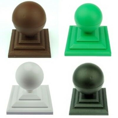 """Plastic Ball Finial and Fence Post Caps for 3"""" or 75mm Square Wooden Fence Posts"""