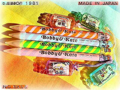 ✎ VINTAGE RIBBON Bobby Kate Jumbo Pencil + Eraser Minipad 1981 JAPAN Full Series