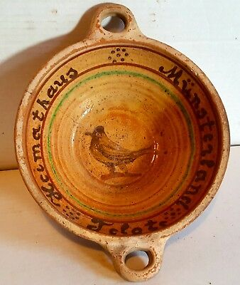 Pennsylvania Redware Pottery Bowl Bird Dutch Heimathus Munsterland Telgte PA