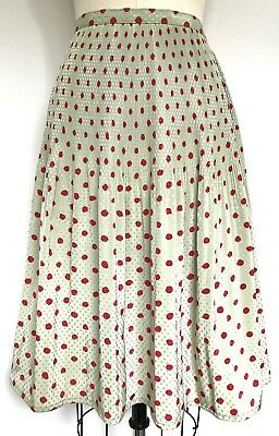 Vintage 1980s Pistachio Soft Green & Red Polka Dots Skirt XS