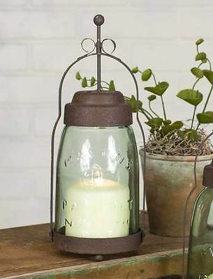 New Primitive French Country Chic MASON JAR LANTERN Candle Holder Shabby Rustic