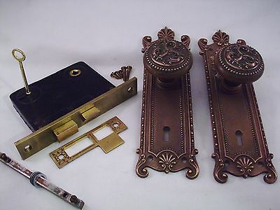 Antique Cast Brass Door Knob Set Mortise Lock Russell Erwin   5 sets aval. #699
