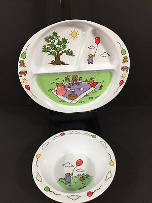 Vintage Melamine Childrens Set Divided Plate Bowl Nina 1986 3 Bears Balloons