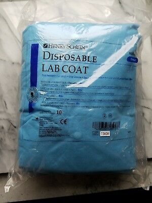 10 Blue Full Length Unisex Small Disposable Lab Coats Gowns Dental Medical