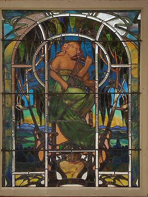 Antique American Figural Scenic Stained/Painted and Beveled Glass Landing Window