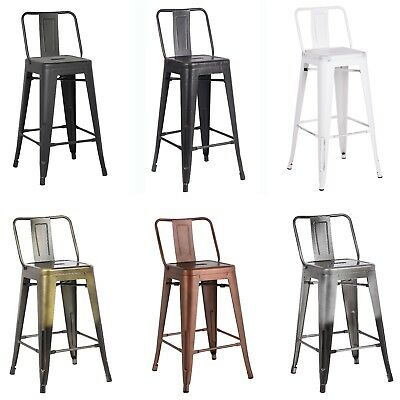 24 30 Metal Bar Stools Industrial Chair With Back Set Of 2