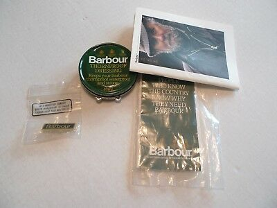 Barbour- Vintage - Pin,  Small Catalog, Small Tin Of Wax & Care Brochure-Nos