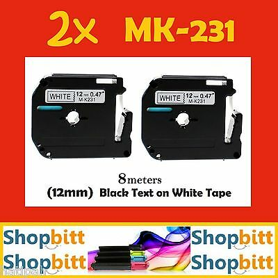 2x Brother MK-231 MK231 P-Touch Tape 12mmx8m Compatible Black On White Labeller