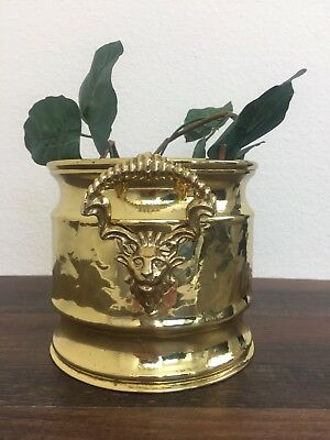 "Vintage Hammered Brass Planter Pot Lion Head Handles Hollywood Regency 5.5"" Tall"